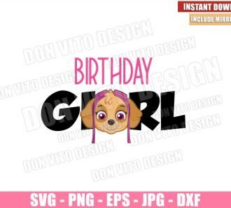 Birthday Girl Skye (SVG dxf png) Paw Patrol Party Skye Head Logo Cut File Cricut Silhouette Vector Clipart - Don Vito Design Store