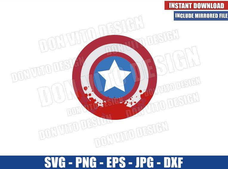 Blood on Captain America Shield (SVG dxf png) The Falcon and Winter Soldier Cut File Cricut Silhouette Vector Clipart - Don Vito Design Store