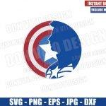 Captain America in Shield (SVG dxf png) Marvel Avengers Superhero Logo Cricut Silhouette Vector Clipart T-Shirt Design Steve Rogers svg