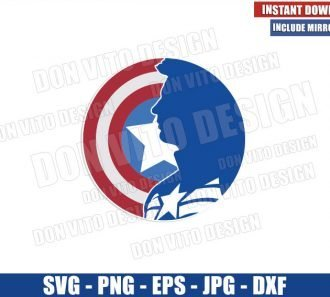 Captain America in Shield (SVG dxf png) Marvel Avengers Superhero Logo Cricut Silhouette Vector Clipart - Don Vito Design Store