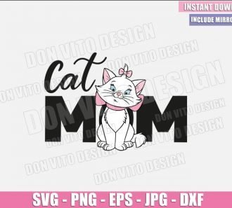 Cat Mom Marie (SVG dxf png) Disney Movie Aristocats Mommy Cut File Cricut Silhouette Vector Clipart - Don Vito Design Store