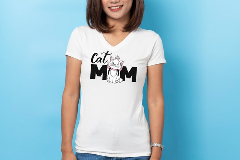 T-Shirt Design Example Cat Mom Marie (SVG dxf png) Disney Movie Aristocats Mommy Cut File Cricut Silhouette Vector Clipart