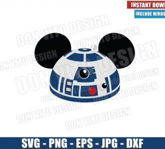 R2D2 Mickey Mouse Ears (SVG dxf png) Star Wars Movie Logo Cricut Silhouette Vector Clipart - Don Vito Design Store