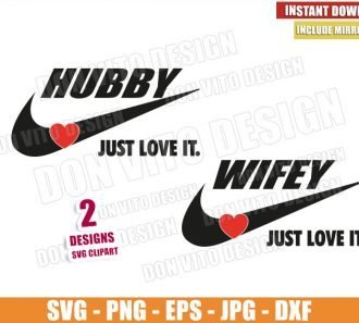 Hubby Wifey Nike Logo (SVG dxf png) Just love it Swoosh Husband Wife Cut File Cricut Silhouette Vector Clipart - Don Vito Design Store