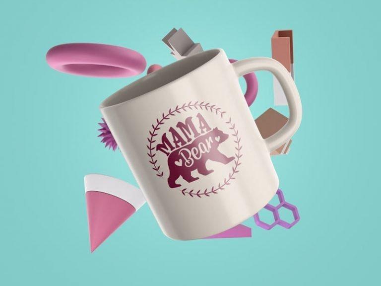 Mug Design Example Mama Bear Floral Frame (SVG dxf png) Momma Bear Family Mom Cut File Cricut Silhouette Vector Clipart