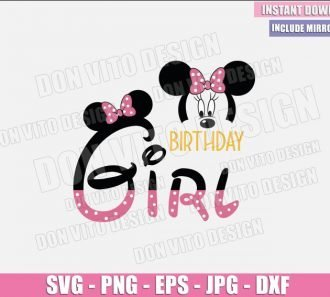 Birthday Girl Minnie Mouse Head (SVG dxf png) Minnie Ears Bow Pink Party Cut File Cricut Silhouette Vector Clipart - Don Vito Design Store