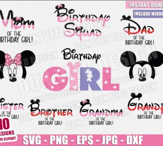 Minnie Mouse Birthday Girl Bundle (SVG dxf png) Family Squad Mickey Ears Cut File Cricut Silhouette Vector Clipart - Don Vito Design Store