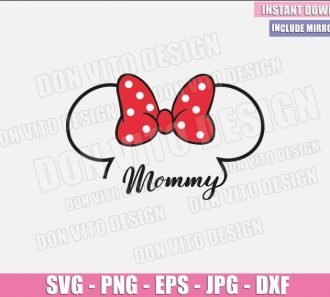 Mommy Minnie Outline Head (SVG dxf png) Disney Mouse Ears Bow Mom Cut File Cricut Silhouette Vector Clipart - Don Vito Design Store