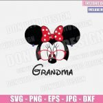 Grandma Minnie Mouse Head (SVG dxf png) Minnie with Glasses Ears Bow Earrings Cut File Cricut Silhouette Vector Clipart Design Disney svg