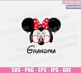 Grandma Minnie Mouse Head (SVG dxf png) Minnie with Glasses Ears Bow Earrings Cut File Cricut Silhouette Vector Clipart - Don Vito Design Store
