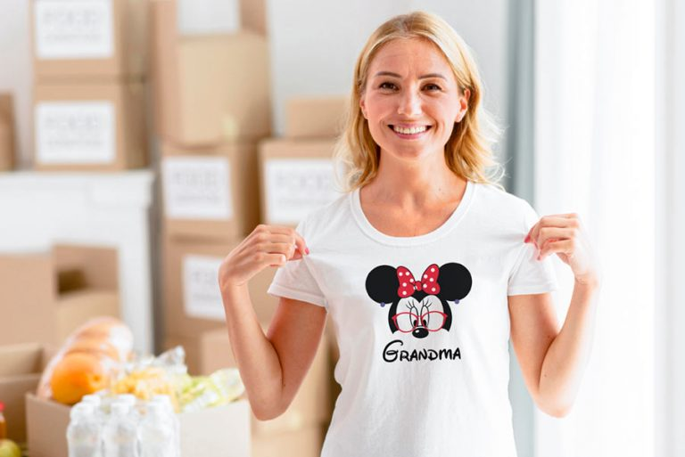 T-Shirt Design Example Grandma Minnie Mouse Head (SVG dxf png) Minnie with Glasses Ears Bow Earrings Cut File Cricut Silhouette Vector Clipart