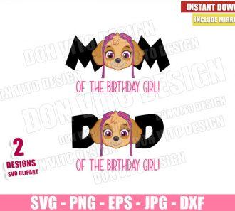 Skye Mom Dad Birthday Girl (SVG dxf png) Paw Patrol Head Logo Cut File Cricut Silhouette Vector Clipart - Don Vito Design Store