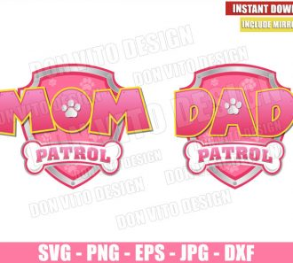 Mom and Dad Patrol Pink (SVG dxf png) Paw Patrol Badge Logo Cut File Cricut Silhouette Vector Clipart - Don Vito Design Store