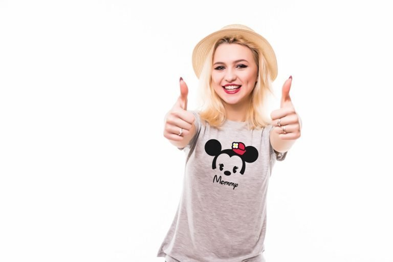 T-Shirt Design Example Mommy Baby Minnie Mouse (SVG dxf png) Disney Cuties Head Mom Cut File Cricut Silhouette Vector Clipart