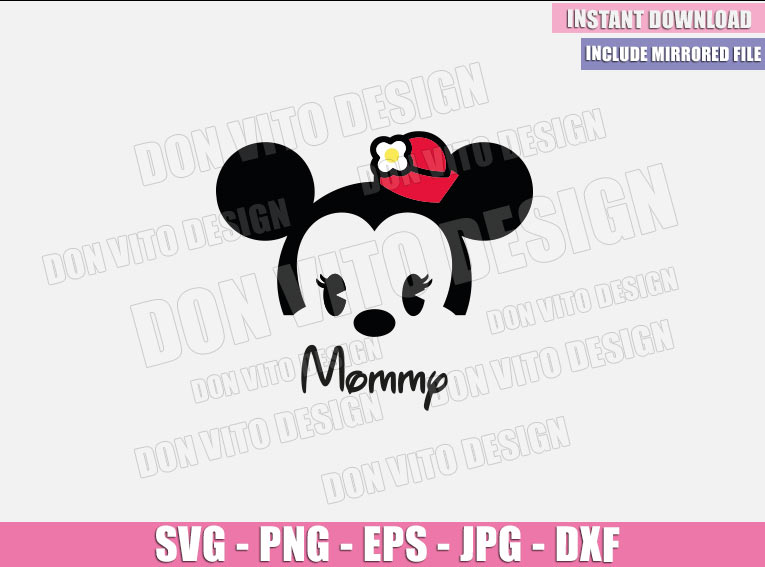 Mommy Baby Minnie Mouse (SVG dxf png) Disney Cuties Head Mom Cut File Cricut Silhouette Vector Clipart - Don Vito Design Store