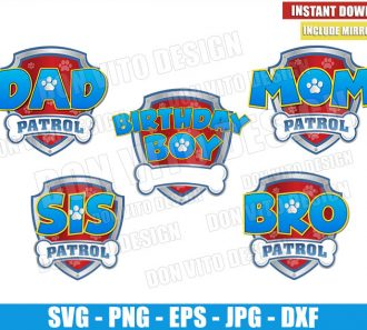 Patrol Family Set Boy (SVG dxf png) Dad Mom Bro Sis Birthday Logo Cut File Cricut Silhouette Vector Clipart - Don Vito Design Store