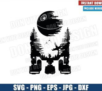 R2D2 Endor Death Star (SVG dxf png) Star Wars Ewok Imperial Shuttle Ships Cricut Silhouette Vector Clipart - Don Vito Design Store