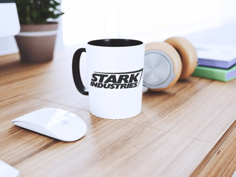 Mug Design Example Stark Industries Logo (SVG dxf png) Marvel Comics Tony Stark Company Cricut Silhouette