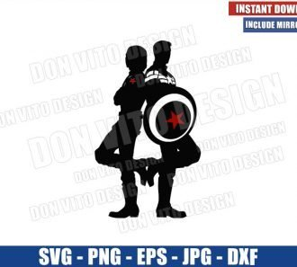 Steve and Bucky Couple (SVG dxf png) Captain America Winter Soldier Stucky Cricut Silhouette Vector Clipart - Don Vito Design Store