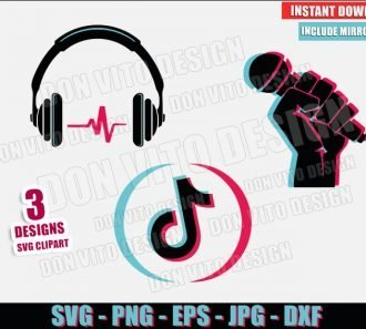TikTok Bundle Music Logo (SVG dxf png) Tik Tok Headphone Microphone Cut File Cricut Silhouette Vector Clipart - Don Vito Design Store