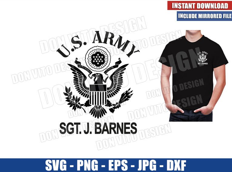 US ARMY Bucky Barnes (SVG dxf png) Falcon and Winter Soldier SGT. J. Banes Cut File Cricut Silhouette Vector Clipart