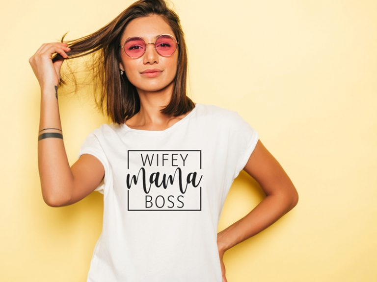 T-Shirt Design Example Wifey Mama Boss (SVG dxf png) Wife Mom Boss Mommy Cut File Cricut Silhouette Vector Clipart
