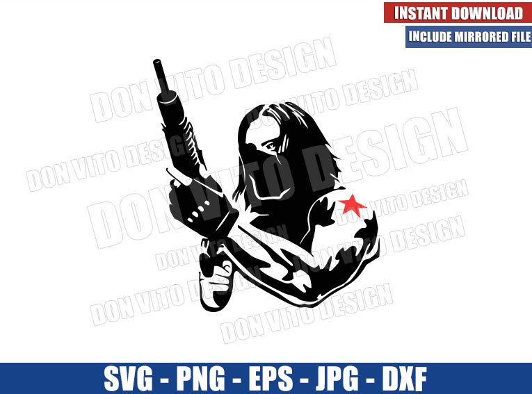 Winter Soldier with Gun (SVG dxf png) The Falcon and Winter Soldier Cut File Cricut Silhouette Vector Clipart - Don Vito Design Store