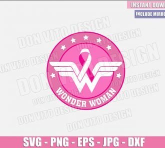 Breast Cancer Wonder Woman Symbol (SVG dxf png) Hope Awareness Mom Survivor Logo Ribbon Cut File Cricut Silhouette Vector Clipart - Don Vito Design Store
