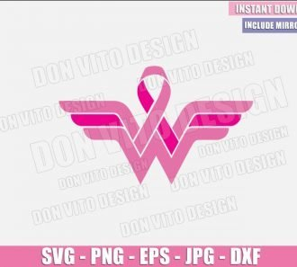 Wonder Woman Breast Cancer Logo (SVG dxf png) Survivor Pink Ribbon Awareness Cut File Cricut Silhouette Vector Clipart - Don Vito Design Store