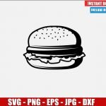 Burger SVG Free Cut File for Cricut Silhouette Freebie Meat Bread Lettuce Food Clipart Vector PNG Image Download Free SVG Design