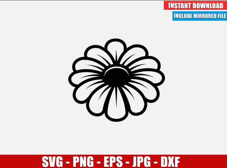 Flower SVG Free Cut File for Cricut Silhouette Freebie Garden Plant Daisy Margaret Clipart Vector PNG Image Download Free