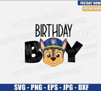 Birthday Boy Chase (SVG dxf png) Paw Patrol Logo Dog Police Head Cut File Cricut Silhouette Vector Clipart - Don Vito Design Store