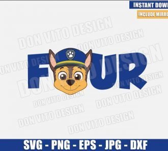 Four Chase Head (SVG dxf png) Paw Patrol Birthday Party 4 Dog Police Cut File Cricut Silhouette Vector Clipart - Don Vito Design Store