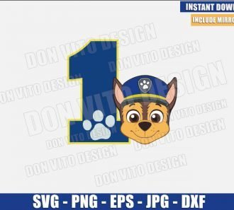 Number 1 Chase (SVG dxf png) First Paw Patrol Birthday Party One Cut File Cricut Silhouette Vector Clipart - Don Vito Design Store