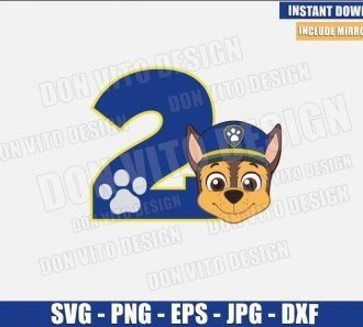 Number 2 Chase (SVG dxf png) Paw Patrol Birthday Party Two Cut File Cricut Silhouette Vector Clipart - Don Vito Design Store