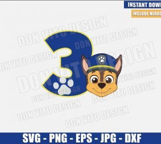 Number 3 Chase (SVG dxf png) Paw Patrol Birthday Three Cut File Cricut Silhouette Vector Clipart - Don Vito Design Store