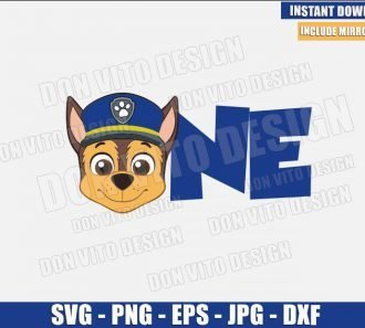 One Chase Head (SVG dxf png) First Paw Patrol Birthday Party 1 Cut File Cricut Silhouette Vector Clipart - Don Vito Design Store