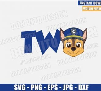 Two Chase Head (SVG dxf png) Second Paw Patrol Birthday Party 2 Cut File Cricut Silhouette Vector Clipart - Don Vito Design Store