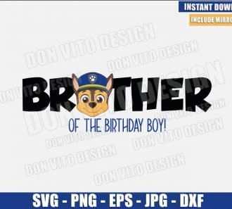 Chase Brother of the Birthday Boy (SVG dxf png) Dog Police Head Logo Cut File Cricut Silhouette Vector Clipart - Don Vito Design Store