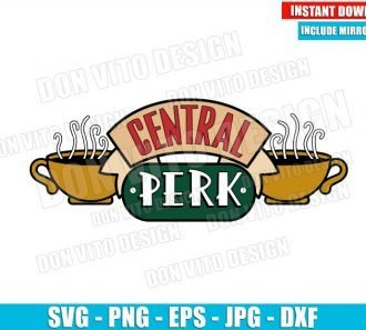 Central Perk Coffee Logo (SVG dxf png) Friends Tv Show House Shop Cup Cut File Cricut Silhouette Vector Clipart - Don Vito Design Store