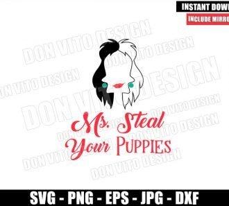 Ms Steal your Puppies (SVG dxf png) Cruella De Vil Disney Villain Hair Cut File Cricut Silhouette Vector Clipart - Don Vito Design Store