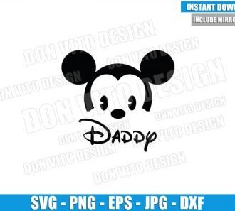 Daddy Baby Mickey Mouse (SVG dxf png) Disney Cuties Head Dad Cut File Cricut Silhouette Vector Clipart - Don Vito Design Store