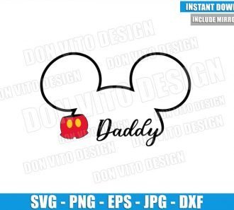 Daddy Mickey Outline Head (SVG dxf png) Disney Mouse Ears Pants Dad Cut File Cricut Silhouette Vector Clipart - Don Vito Design Store