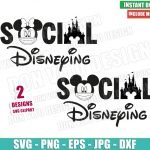 Disney Castle Social Disneying (SVG dxf png) Mickey Minnie Mouse Face Mask Covid Cricut Silhouette Vector Clipart T-Shirt 2 Designs svg