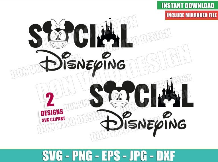 Disney Castle Social Disneying (SVG dxf png) Mickey Minnie Mouse Head Face Mask Covid Cricut Silhouette Vector Clipart - Don Vito Design Store