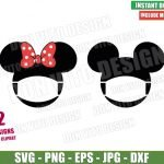 Disney Head Face Mask (SVG dxf png) Mickey Minnie Mouse Bow Ears Cricut Silhouette Vector Clipart T-Shirt 2 Designs Quarantine svg