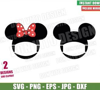 Disney Head Face Mask (SVG dxf png) Mickey Minnie Mouse Bow Ears Cricut Silhouette Vector Clipart - Don Vito Design Store