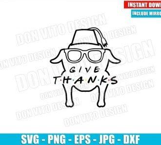 Give Thanks Monica Turkey (SVG dxf png) Friends Tv Series Logo Head Sunglasses Outline Cut File Cricut Silhouette - Don Vito Design Store