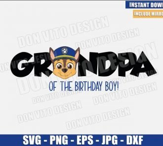 Chase Grandpa Birthday Boy (SVG dxf png) Patrol Dog Police Head Cut File Cricut Silhouette Vector Clipart - Don Vito Design Store