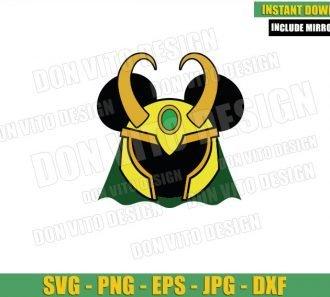 Loki Mickey Mouse Head (SVG dxf png) Disney Ears Helmet Tv Series Cut File Cricut Silhouette Vector Clipart - Don Vito Design Store